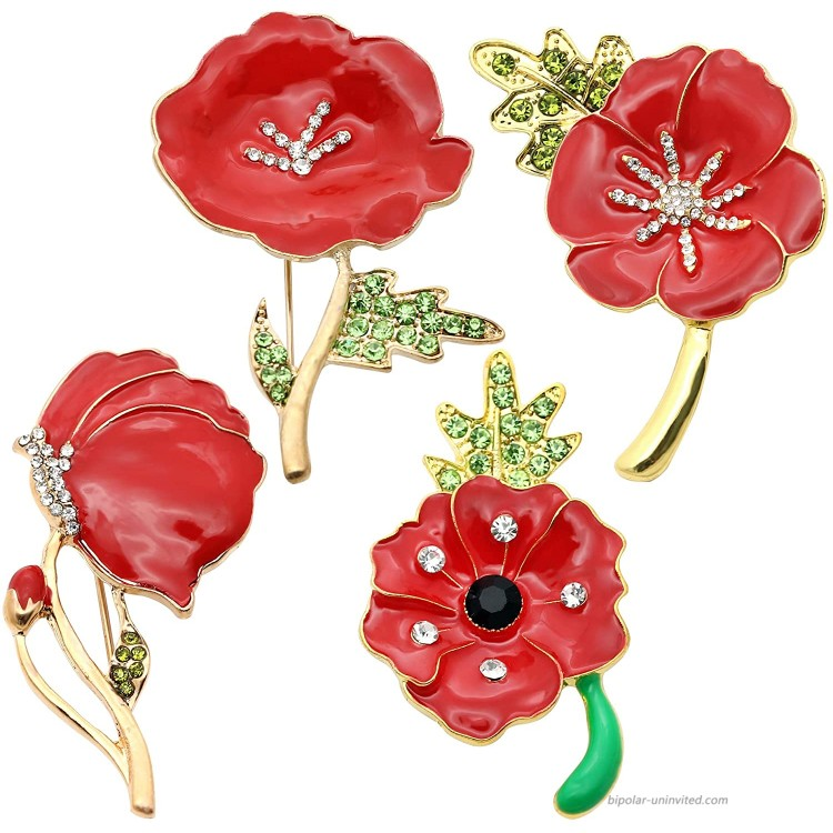 JJIA 4 PCS Remember Memorial Day Gifts Flower Red Black Poppy Brooch Pin Lest We Forget