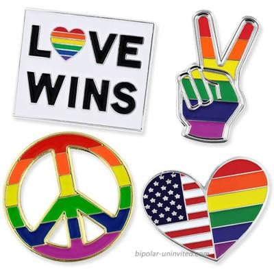 PinMart Gay Pride Rainbow Flag Love Wins LGBT Enamel Lapel Pin Set