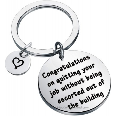 POTIY Funny Coworker Leaving Gift Funny Going Away Gift for Her Congratulations on Quitting Your Job Without Being Escorted Out of the Building Keychain Farewell Gift Keychain
