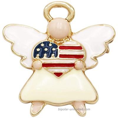 Rosemarie & Jubalee Women's Patriotic USA Flag Heart Enamel Angel Brooch Pin 1.25