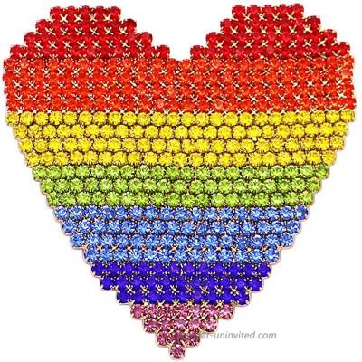 Rosemarie & Jubalee Women's Stunning Rainbow Crystal Rhinestone Heart Brooch Pin 2.5