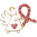Rosemarie Collections Women's Charming Pink Ribbon Crystal Rhinestone Angel Lapel Pin Brooch 1 White Gold Tone