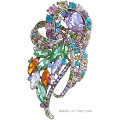 Sindary Pretty 3.74 Rhinestone Crystal Bowknot Brooch Pin Pendant BZ4243 Gold-Tone Multicolor