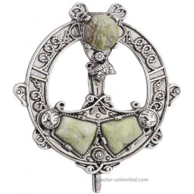 Tara Women's Celtic Brooch Connemara Marble Rhodium Plated Made in Ireland