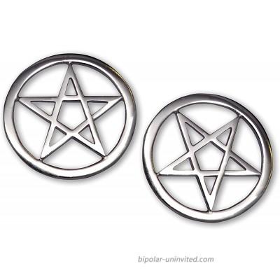 Two Pentacle Pentagram Jacket or Hat Pins Polished Silver Finish Pewter