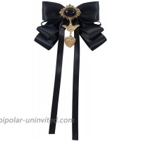 Women Bow Tie with Brooch Vintage Crystal Pre Tied Ribbon Bow Brooch Neck Tie for Wedding Party Accessories