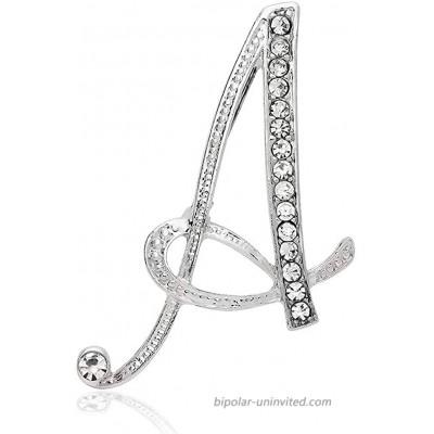 Xjoyous A-Z 26 Letters Letter Brooch Pins Initial Rhinestone Brooch for Women Gift Jewelry Silvery