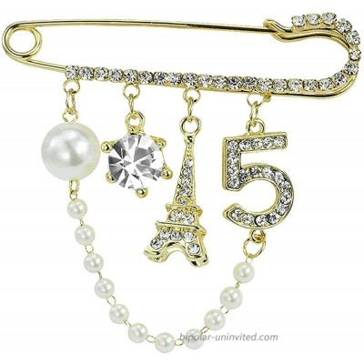 Xjoyous Vintage Crown Number 5 Lapel Safe Pins Skirt Cardigan Hat Scarf Pin Lapel Pin Shawl Pin for Women Rhinestone Jewelry with Simulated Pearl
