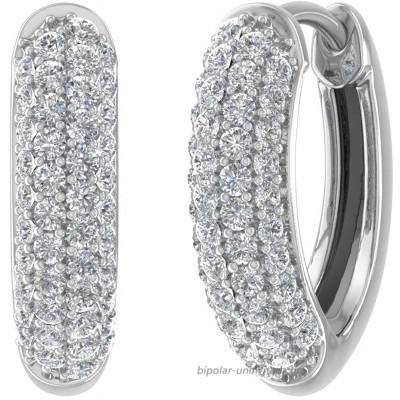 1 2 Carat Diamond Hoop Earrings in 10K White Gold