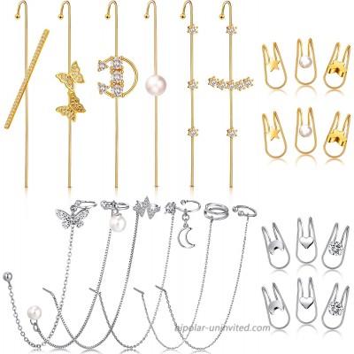 24 Pieces Ear Cuff Wrap Crawler Hook Earrings Ear Cuff Earrings Cuff Chain Earrings Simple Wrap Tassel Earrings Jewelry Hook Earrings for Women Girls Gold Silver
