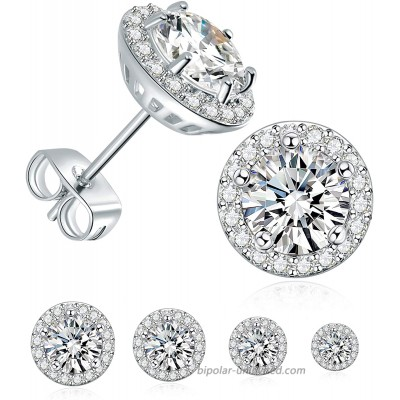 4 Pairs Stud Earrings Set 18K White Gold Plated Hypoallergenic Brilliant Round Halo Cubic Zirconia Earrings for Women Men 3-6mm