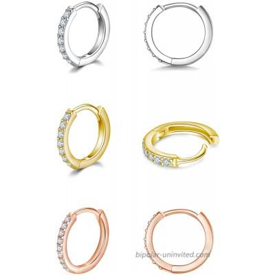 925 Sterling Silver Small Hoop Earrings Cubic Zirconia Silver 14K Gold Rose Gold Plated Huggie Hoop Earrings 3 Pairs Cartilage Piercing Earrings Ear Cuff Tiny Hoop Earrings for Women Girls Men 8mm