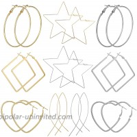 AIDSOTOU 10 Pairs Geometric Big Hoop Earrings 50mm-60mm Large Stainless Steel Square Star Heart Shaped Hoop Earrings for Women GirlsGold Silver