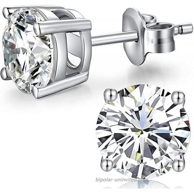 Cubic Studs CZ Silver Studs Women CZ Diamond Studs 8mm Sterling Silver Earrings Stud CZ Diamond Stud Earrings Fake Diamond Earrings for Women Men Silver Earrings Cubic Zirconia Earrings Women