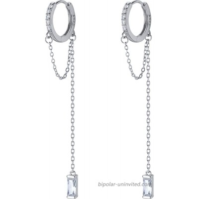CZ Small Hoop Cuff Earrings With Long Chain Dangle S925 Sterling Silver for Women Girls Cartilage Sensitive Ears Fashion Elegant Cubic Zirconia Threader Tassel Dangling Hypoallergenic Gifts