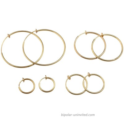Evelots Clip on Spring Hoop Earrings-Gold Silver-Comfy Pinch Nickel Free-4 Sizes