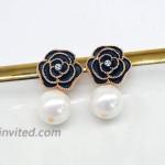 Fashion jewelry designer imitation pearl camellia charm dangle earrings for women Black