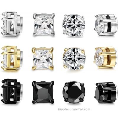 FIBO STEEL 6 Pairs Stainless Steel Magnetic Stud Earring for Men Women CZ Magnet Non Pierced Clip On Earrings Set 5mm