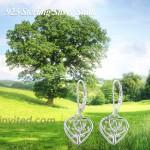 Heart Shape Leverback Earrings 925 Sterling Silver Tree of Life Drop Dangling Earrings for Women Hypoallergenic Earrings for Sensitive Ears Mother Day Gifts for Women Daughter Girlfriend with Gift Box