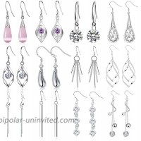 Jewdreamer 12 Pairs Classic Silver Plated Dangle Drop Earrings for Women Simple Long Thread Fashion Line Christmas Earring Set