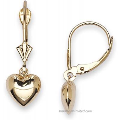 JewelryWeb Solid 14k Gold Polished Heart Drop Dangle Leverback Earrings for women 8mmx22mm yellow-gold Dangle Earrings