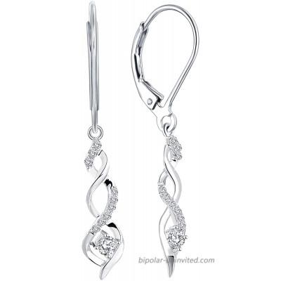 JO WISDOM 925 Sterling Silver Infinity Leverback Dangle & Drop Earrings with AAA Cubic Zirconia