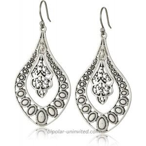 Lucky Brand Silver Filigree Oblong Earrings Dangle Earrings