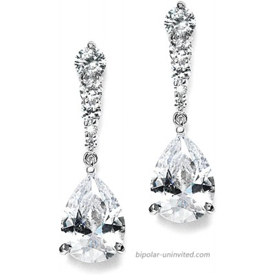 Mariell Pear-Shaped Cubic Zirconia Drop Earrings with Tapered Top - Great for Brides Proms & Bridesmaids