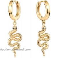 Mevecco Dainty Snake Huggie Earrings for Women 18K Gold Plated Boho Snake Shaped Charm Huggie Hoop Earrings Small Tiny Vintage Minimalist Dangling Long Snake Dangle Drop Hoop Huggie Earrings