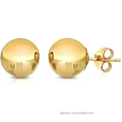 Premium 14K Gold Ball Stud Earrings - Butterfly Backings 3mm-8mm Yellow 4