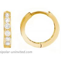 Ritastephens 14K Solid Yellow Gold Mini Huggie Hoops 2x10mm Cubic Zirconia Channel-set Earrings