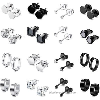 SPINEX 16 Pairs Earrings for Men Women Stainless Steel CZ Black Silver Stud Earrings Women Huggie Hoop Surgical Jewelry Earrings Set 16 pairs