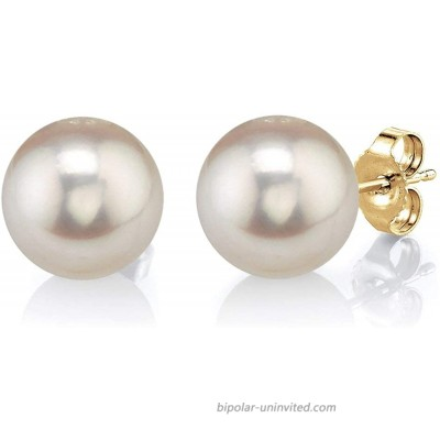 THE PEARL SOURCE 14K Gold 9-10mm Round White Freshwater Cultured Pearl Stud Earrings for Women