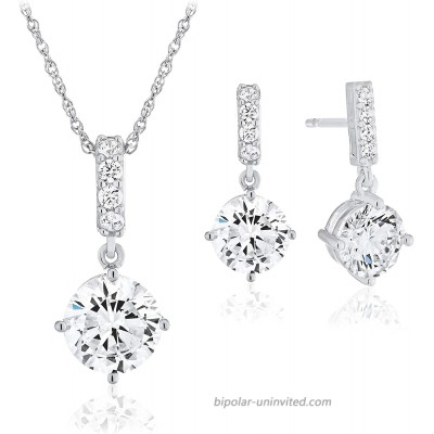 .925 Sterling Silver Cubic Zirconia Dangle Earrings and Pendant Necklace on 18 Rope Chain Set