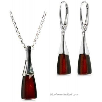 Black Cherry Amber Sterling Silver Modern Set Leverback Earrings Necklace 18 Inches Jewelry Sets