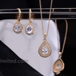 Bridal Jewelry Set for Wedding - 18k Gold Plated Teardrop Cubic Zirconia Crystal CZ Drop Earrings and Pendant Necklace Set for Bride Bridesmaids Mother of Bride Prom Party Formal Jewelry Set for Women