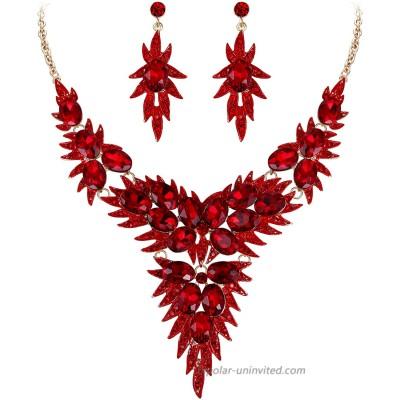 BriLove Wedding Bridal Necklace Earrings Jewelry Set for Women Crystal Multi Oval-Shape Flower Leaf Enamel Statement Necklace Dangle Earrings Set Ruby Color Gold-Toned