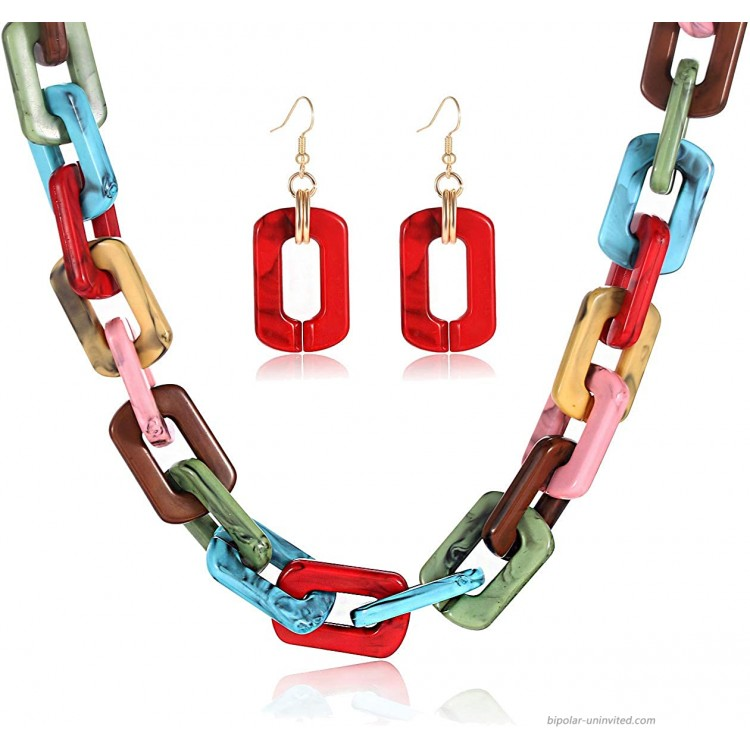 CEALXHENY Chunky Chain Choker Necklace Drop Dangle Earrings for Women Statement Large Marbled Resin Link Necklace and Earrings Set for Party Bridal Wedding Vacation A Multicolor