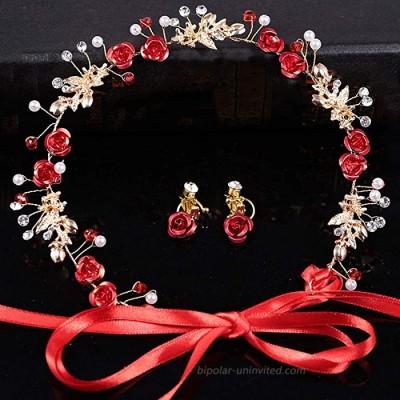 CHDHALTD Bridal Jewelry Set Necklace and Earring Set for Wedding with Crystal Bracelet Red Flower Crystal Pearl Bridal Headband Crown Tiara Headpiece Wedding Hair Jewelry