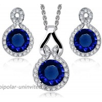 Crystalline Azuria Round Blue Simulated Sapphire Zirconia Crystals Set Pendant Necklace 18 Earrings 18 ct White Gold Plated