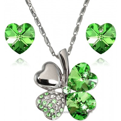 Dahlia Lucky Love Heart Clover Necklace & Earrings Set with Crystals from Swarovski Green Earring And Pendant Necklace Sets