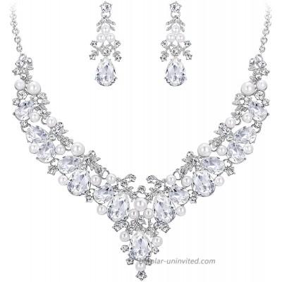 EVER FAITH Crystal Simulated Pearl Gorgeous Bridal Leaf Teardrop Necklace Earrings Set