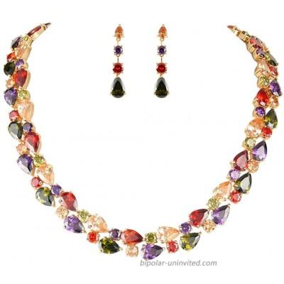 EVER FAITH Gold-Tone Zircon Party Double Layers Tear Drop Necklace Earrings Set Multicolor