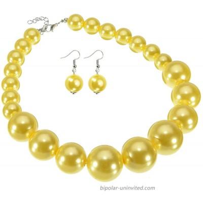 Fashion Large Big Simulated Pearl Statement Necklace Yellow Beads Chain Choker Collar Bib Necklace Earrings Jewelry Set