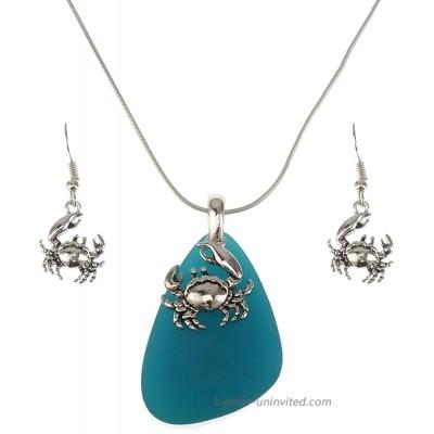 Jucicle Blue Sea Glass Pendant Long Necklace 27 and Earrings Set Crab - Sea Blue