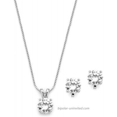 Mariell Platinum Plated Cubic Zirconia Jewelry Set - 2cwt Round Pendant with Matching Clip-On Earrings