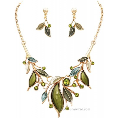 Rosemarie & Jubalee Women's Metal and Resin Leaf Crystal Statement Necklace Earrings Set Green Gold Tone
