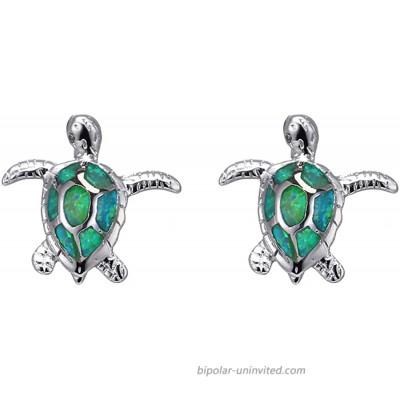 SLVIEKAE Opal Sea Turtle Pendant Necklace Earrings Sterling Silver Jewelry Sets Health and Longevity Mom Gifts Green Opal Earring