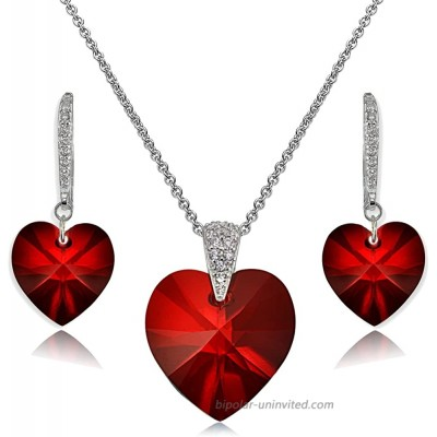 Sterling Silver Red Heart Necklace and Dangle Earrings Set Created with Swarovski Crystal