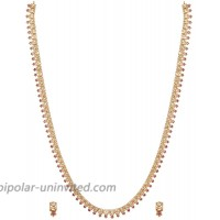 Tarinika Manju Nakshatra CZ Gold-Plated Indian Jewelry Set with Long Necklace and Earrings - White Red